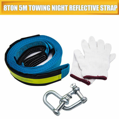 8 TONNE 8T 5M Tow Towing Pull Rope Strap Heavy Duty Road Recovery Car Van 4x4