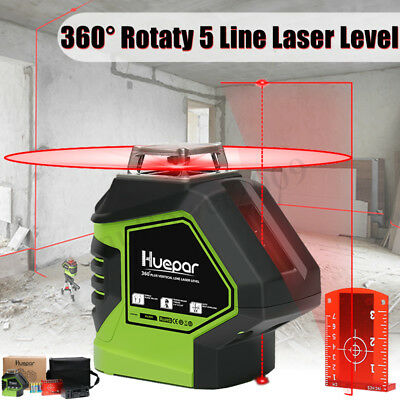 5Line Laser Level 360 ° Rotary Auto Self Leveling Vertical Horizontal Easy Use