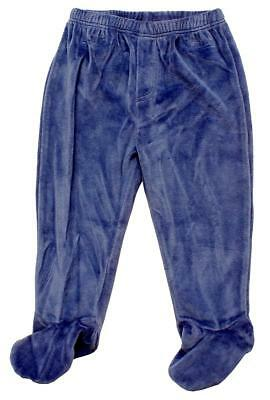 Baby Trousers Fleece Bottoms Blue Velour Pull on Pants Prem Early to 12 Months
