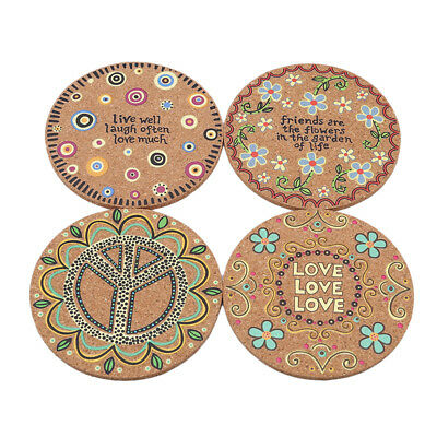 Round Natural Cork Cup Coasters Pattern Heat Insulation Coasters 4Pcs/Set ST