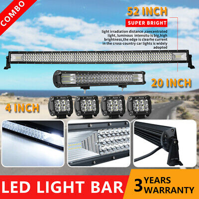 "50Inch Curved LED Light Bar+20 in Combo +4"" PODS OFFROAD UTE Truck SUV 4WD 52"