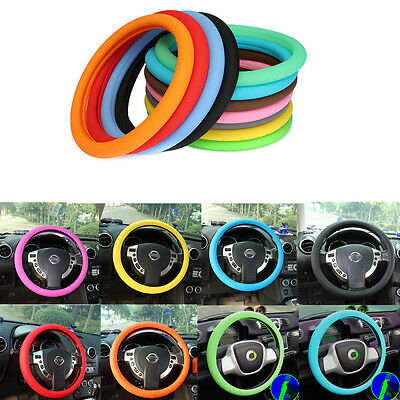 36-40cm Leather Texture Car High Elastic Silicone Steering Wheel Cover Anti-Slip