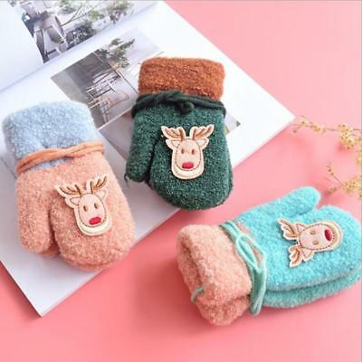 Cute Deer Gloves Mittens Soft Full Finger Gloves Warm Baby Girl Boy Xmas Gift T
