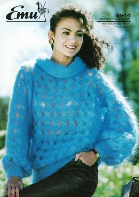 "EM3944A LADIES MOHAIR LACY SWEATER KNITTING PATTERN 32-44""/81-112cm"