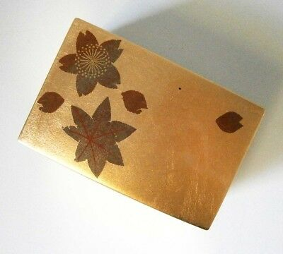 Vintage Japanese Red & Gold Lacquer Trinket Box Autumn Leaves
