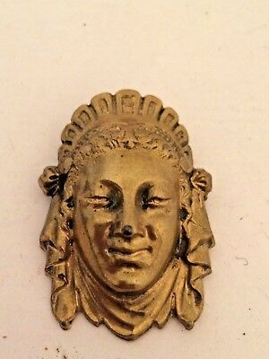 Vintage Brass Egyptian Face Brooch - moulded face & head dress - J5