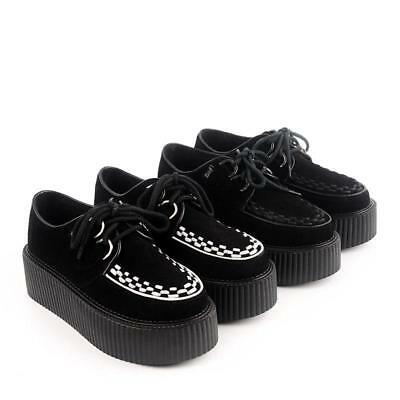 Ladies' Suede Lace Up Flat Platform Shoes Gothic Girl' Creepers Shoes PUNK Black