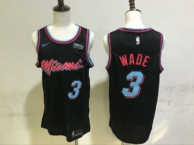 timeless design 06e1a e7d62 MEN'S MIA DWYANE Wade #3 Black New Swingman City Edition Jersey S-XXL