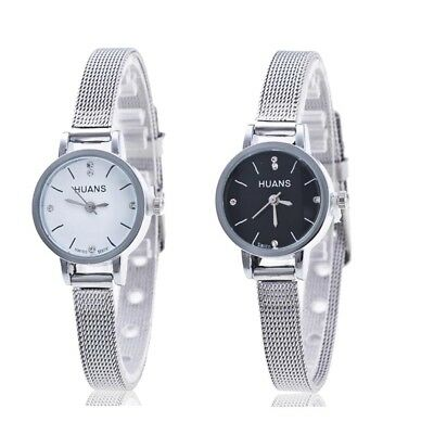 Women Ladies Silver Stainless Steel Mesh Band Wrist Watch Fashion Casual Watch