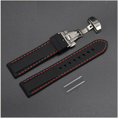 New Rubber Silicone Replacement Watch Band Strap Steel Buckle Lock Red Stitching