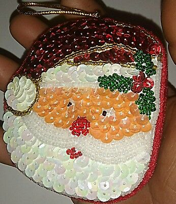 Vintage Handmade Sequin Santa Jewelry Box Christmas Ornament Paillette Beads