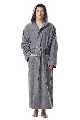 316126d89a Mens Prince Style Hooded Full Length Long Bathrobe Turkish Cotton Terry Robe
