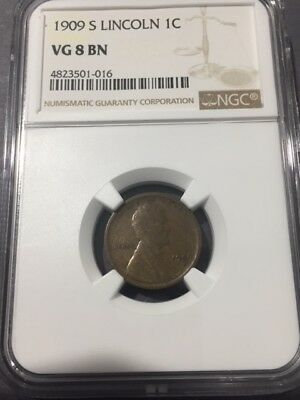 1909 S Lincoln NGC Graded VG 8 BN -  KEY DATE