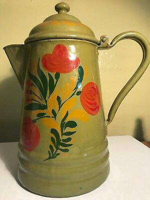 Antique Country Kitchen Look- Vintage Painted Folk Art Toleware Metal Coffee Pot