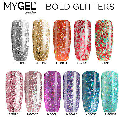 Mylee MYGEL UV LED Soak-Off Bold Glitter Gel Nail Polish Colour Manicure 10ml