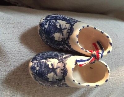 Blue Delft Handmade In Holland Ceramic Shoes 2.5""