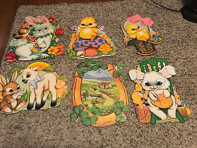 Lot Of 6 Easter And St Patricks Day Cutouts Bunny Duck Some Beistle