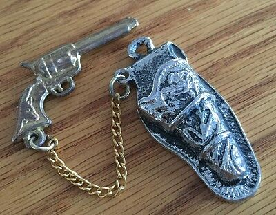 Vintage Two Piece Silver And Gold Tone Gun And Holster Pendant Charm