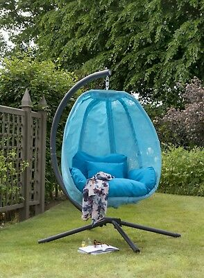 Blue Cocoon Hanging Egg Chair Swing Textilene Garden Furniture In Or Outdoor