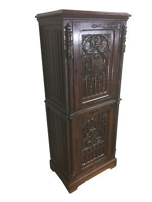 Terrific Antique French Gothic Cabinet, Narrow model, 19th Century, Oak