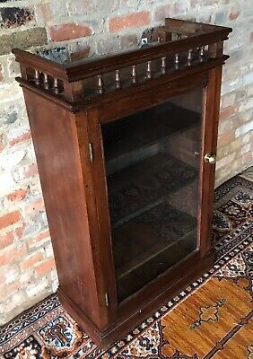 Antique Oak Edwardian Display Case Bookcase Study Lounge Shelves Glass