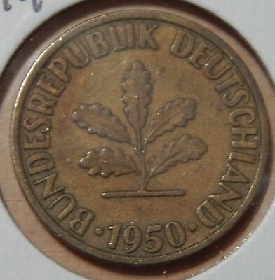 1950 D Germany 10 Pfennig KM#108