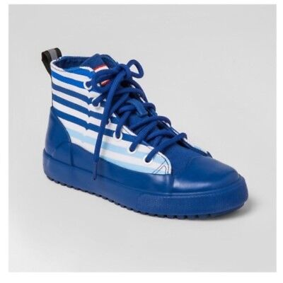Hunter for Target Kids' Striped Dipped Canvas High Top Sneakers Blue NWT