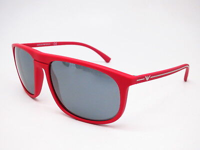 2adac124301 New Emporio Armani EA 4118 5690 6G Red Rubber w Grey Mirror Black Sunglasses