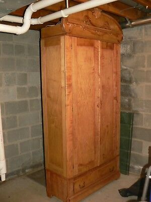 """Antique Large Victorian Armoire Wardrobe Cabinet 89"""" Tall"""