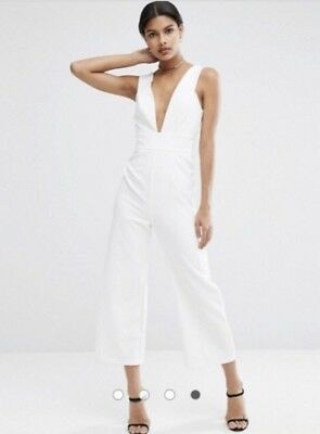 bfa481154db ASOS STRUCTURED PLUNGE White Jumpsuit with Culotte Leg -  80.00 ...