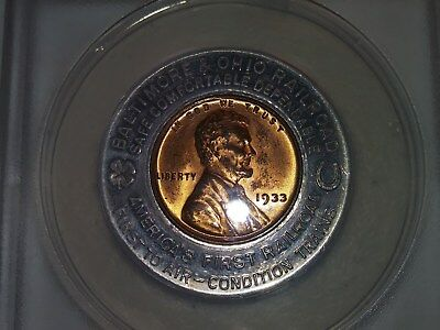 Vintage Certified by ANACS 1933 Lincoln Penny in B & O Railroad World Fair Token