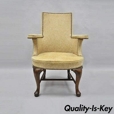 Vtg Baker Furniture Queen Anne Style Arm Chair Office Desk Executive Upholstered