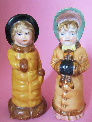 VICTORIAN BOY & GIRL * Salt and Pepper Shakers * KATE GREENAWAY * GERMANY 1920s