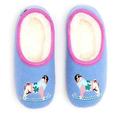 New Girls Pug Dog Slippers Ex Joules Kids Size 10 11 12 1 3  RRP £16.95