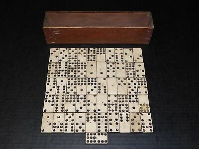 Antique Lot 51 Pieces Wood Dominos Old Vintage Table Top Game Toy Box Art Crafts