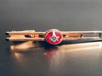 Vintage Foster Masonic Gold Tone Tie Clip Red Pendant