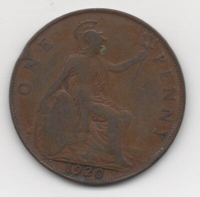 Great Britain 1920 Large Head George V  One Penny Coin  E.f.