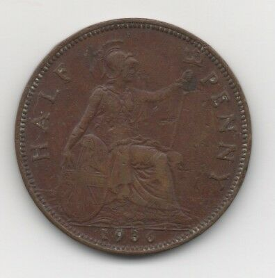 Great Britain 1936 Large Head Coinage  George V Halfpenny Coin  V.f.