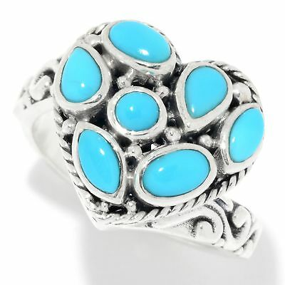 Sleeping Beauty Turquoise By Samuel B Multi-Shape Heart Ring Sterling Sz 9