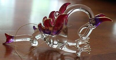 Dragon Crystal Glass Ornament Clear Purple Pink Gold Tipped Lined 4 in by 2 in