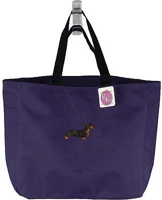 Bicolor Dachshund Monogram Bag Purple Essential Tote Puppy Dog Show Breed Gift