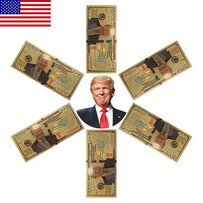 10PC President Donald Trump Colorized $1000 Dollar Bill Gold Foil Banknote ON