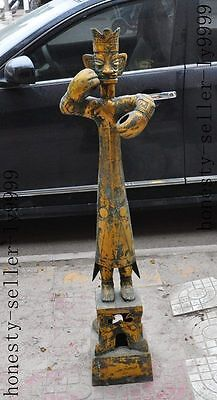 "47""Huge old china Period Antique Dynasty bronze Culture Sanxingdui people statue"