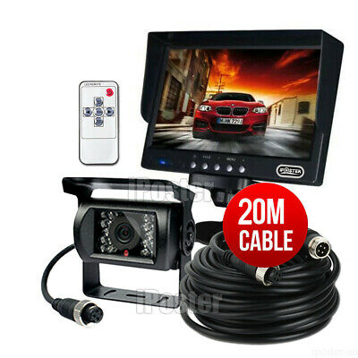 "12-24v 4Pin Heavy Duty Truck Reversing Kit 7"" Monitor+IR Reverse CCD Camera 20m"