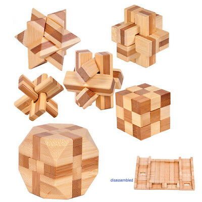 Jigsaw Wooden Puzzle Educational Game Toy IQ Brain Teaser Cube Kong Ming Lock