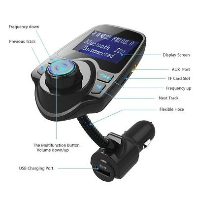 Wireless In-Car Bluetooth FM Transmitter MP3 Radio Adapter Car Kit USB Charger ,
