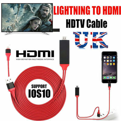 8 Pin 2M Lightning to HDMI Lead TV AV Adapter Cable For iPhone X 6 7 8 Plus iPad