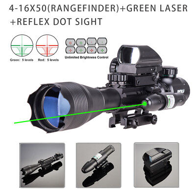 4-16x50 Rangefinder Illuminated Rifle Scope W/Green Laser & Red Green Dot Sight.