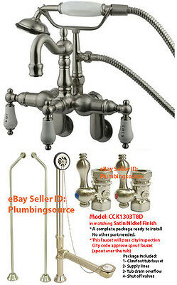30 Height Freestanding Clawfoot Tub Faucet Supply Lines Tub Drain