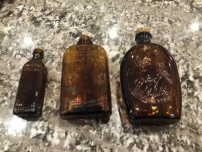 Lot Of 3 Vintage Collectible Brown/Amber Bottles